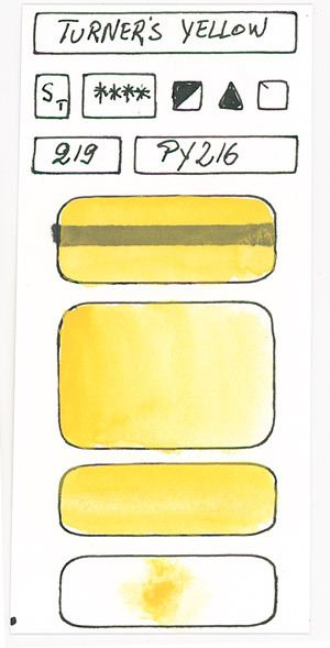 Yellow Watercolour Paint swatches based on pigment PY216