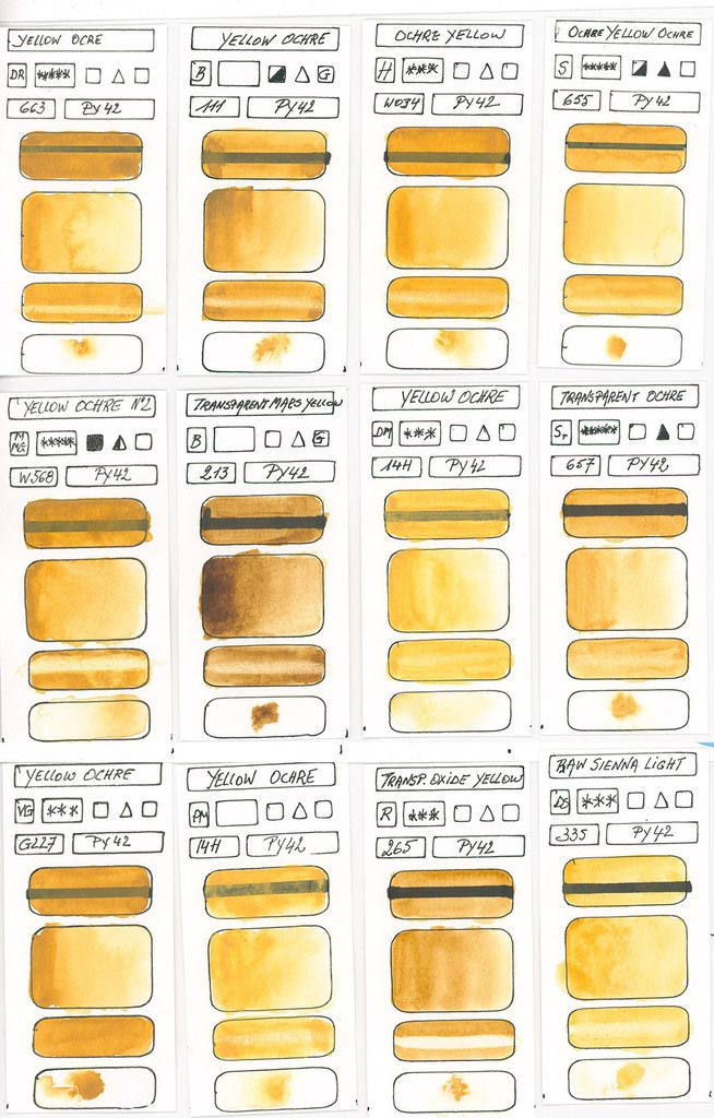 Yellow Watercolour Paint swatches based on pigment PY42