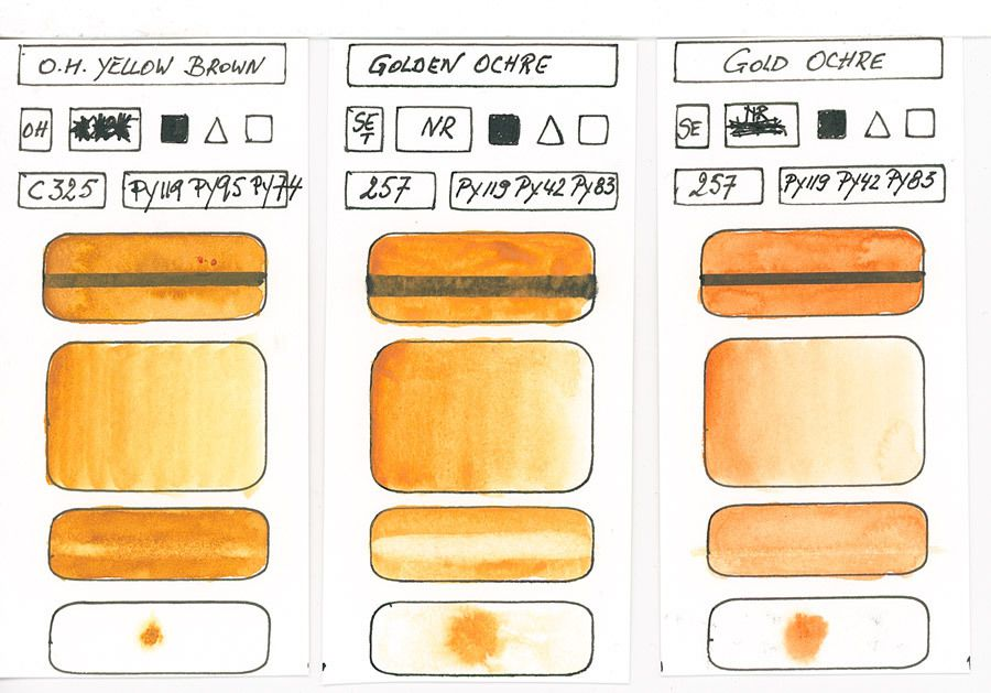 Yellow Watercolour Paint swatches based on pigment PY119 and others