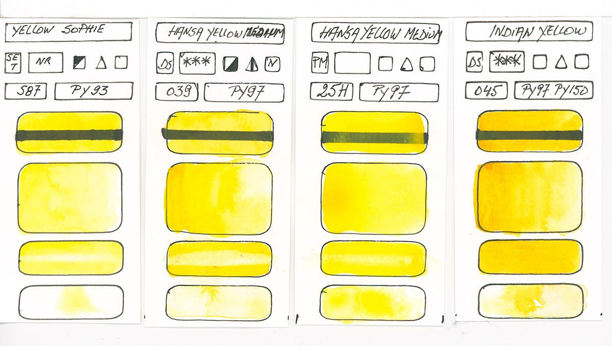 Yellow Watercolour Paint swatches based on pigment PY97