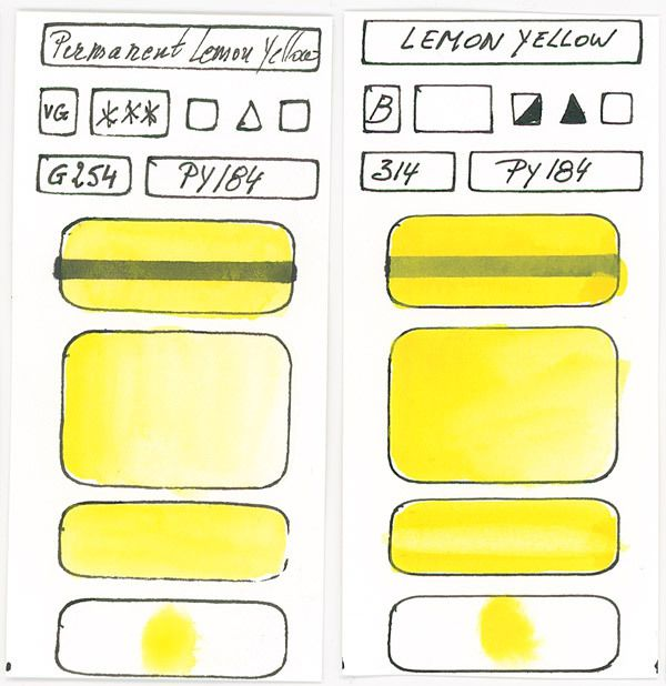 Yellow Watercolour Paint swatches based on pigment PY184