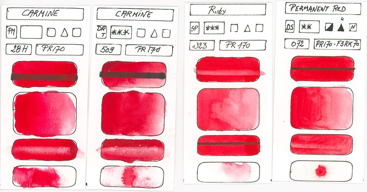 Watercolour Paint made with Red Pigment PR170