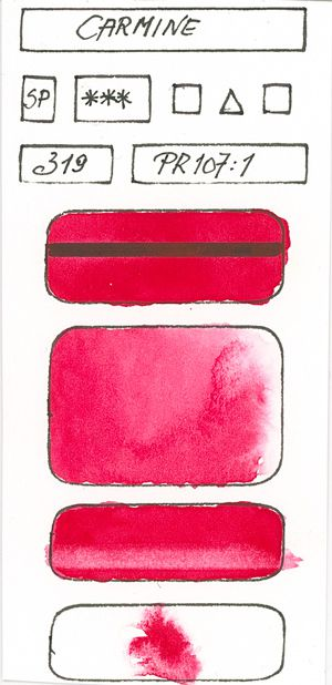Watercolour Paint made with Red Pigment PR107