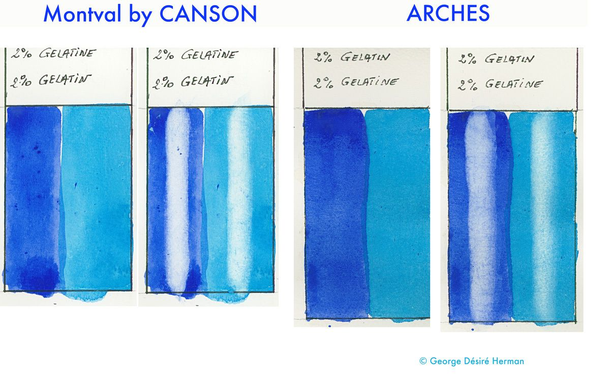 Comparative Lifting : Watercolor applied on gelatin layer diluted to 2%