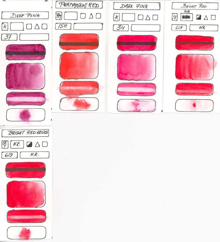 Reds without any information about pigments used by manufacturer