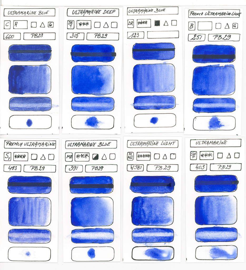 Bleus en peinture aquarelle à base du pigment PB29 Sodium Aluminium Sulfosilicate suite ...