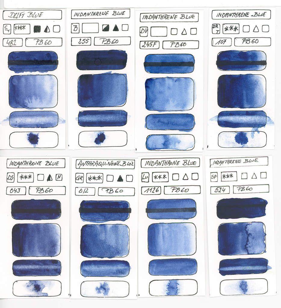 Bleus en peinture aquarelle à base du pigment PB60 Aminoanthraquinone