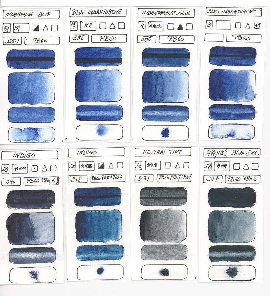 Bleus en peinture aquarelle à base du pigment PB60 Aminoanthraquinone suite ...