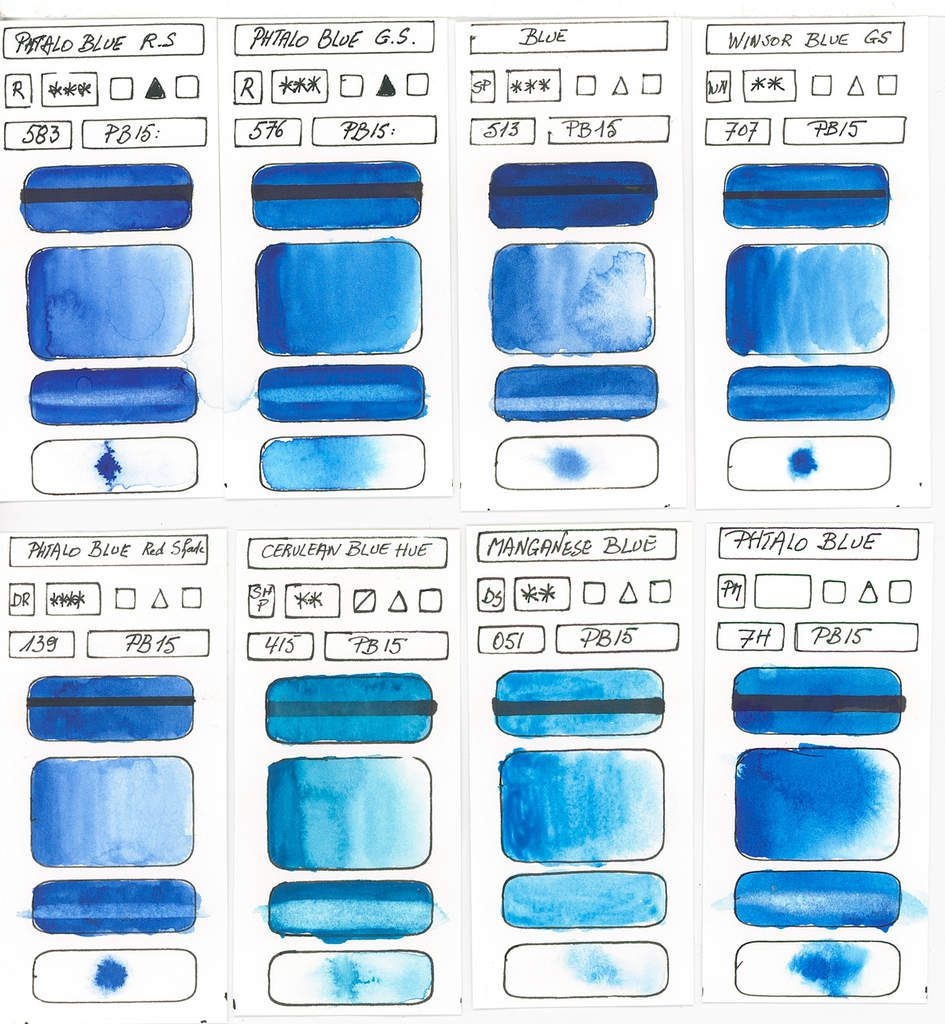 Blues in watercolor paint based on PB15 pigment Copper Phthalocyanine