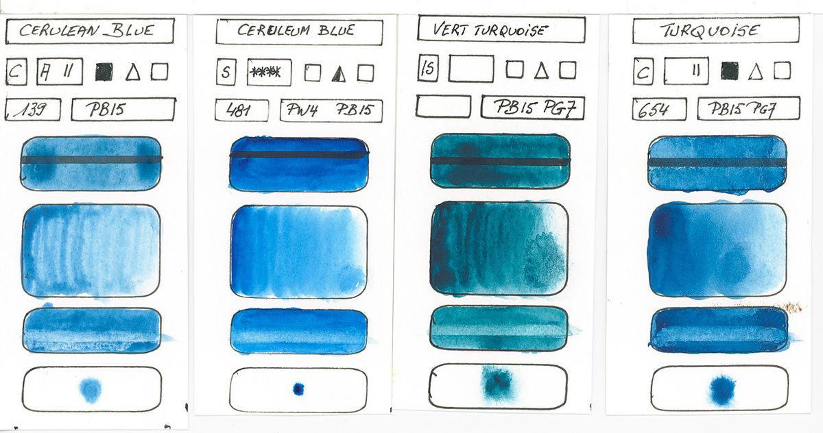 Blues in watercolor paint based on PB15 pigment Copper Phthalocyanine (continued)