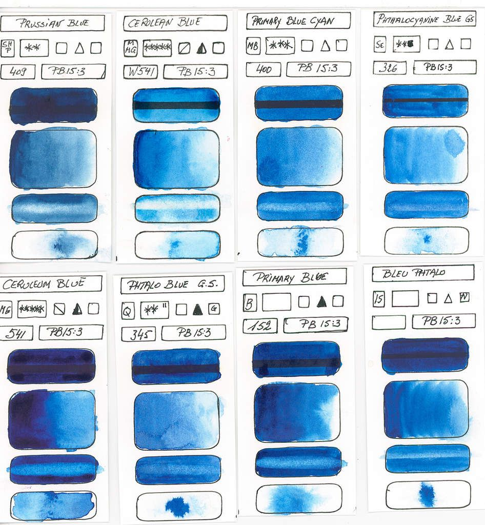 Blues in watercolor paint based on PB15:3 pigment Copper Phthalocyanine