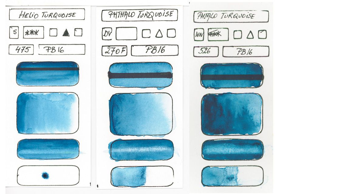 Blues in watercolor paint based on PB16 pigment Phthalocyanine