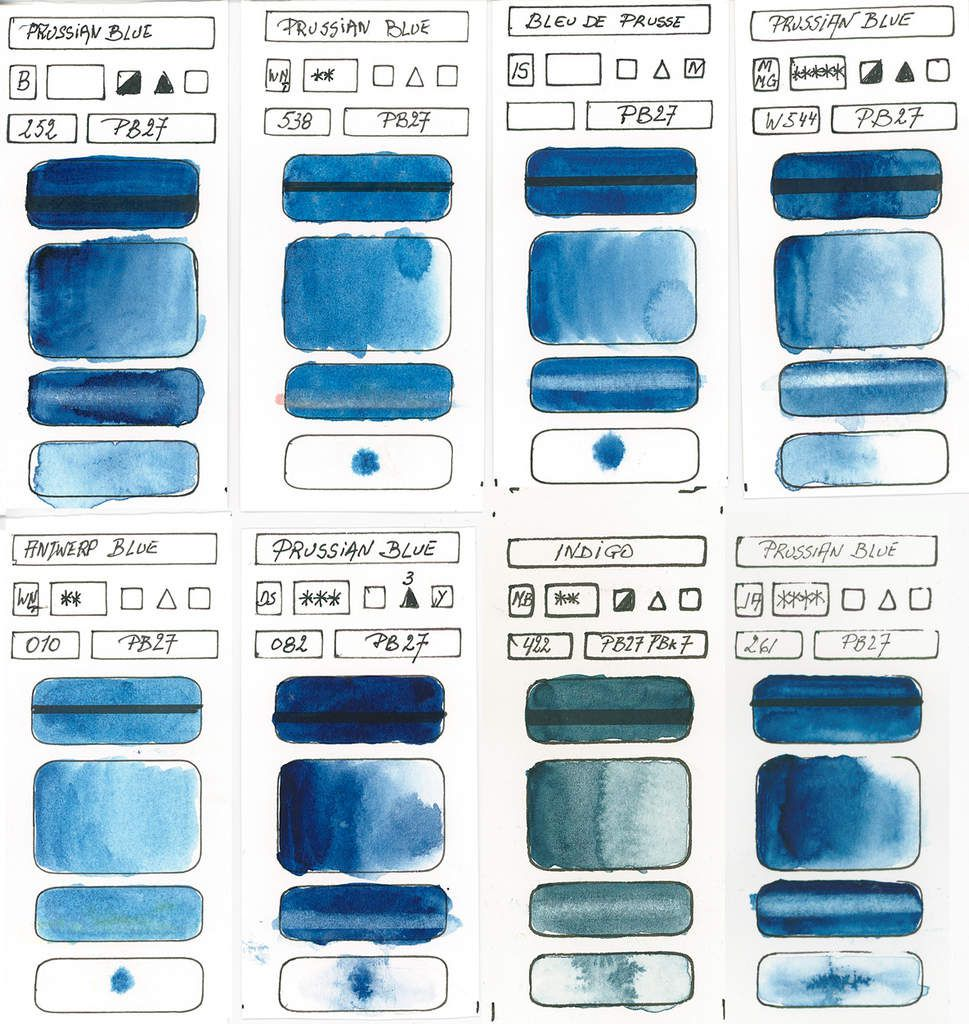 Blues in watercolor paint based on the pigment PB27 Ferricyanide continued ...