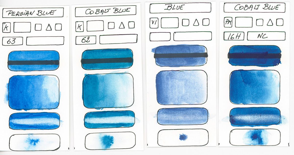 Other Blues without information about the pigments used in these paints