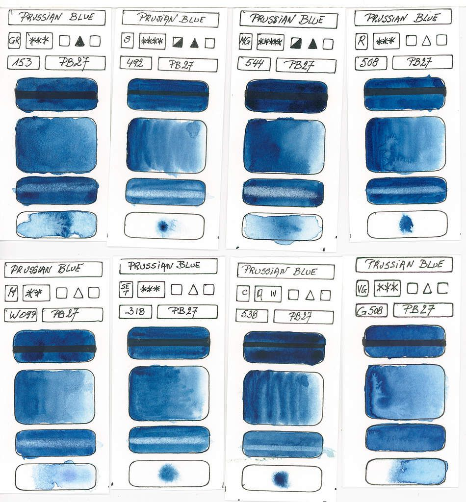 Blues in watercolor paint based on the pigment PB27 Ferricyanide
