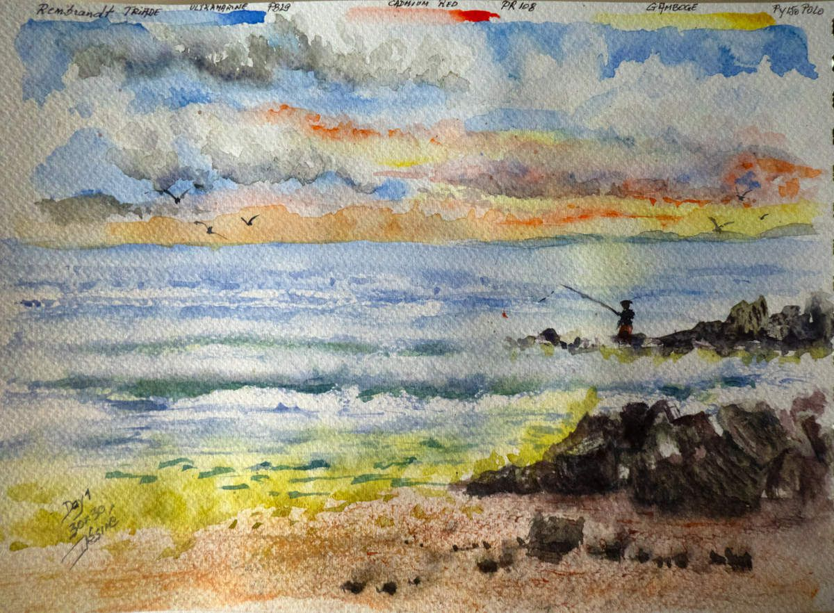 Little Study: Day 1 of the Challenge using the Traditional Triad with Rembrandt Watercolors