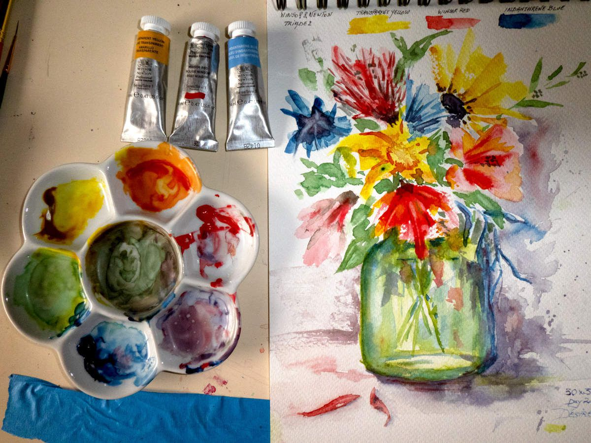 Modern Palette with watercolors by Winsor & Newton: Study of a vase with flowers