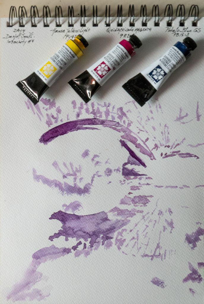Monochrome under-painting with a mix of Magenta and Phtalo Blue
