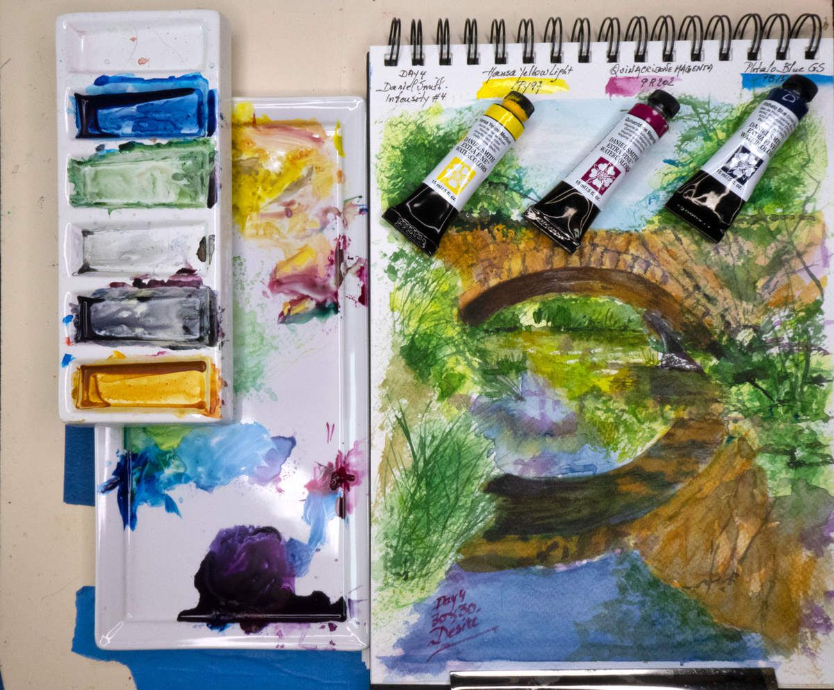 My working space with mixing palettes for creating this watercolor painting