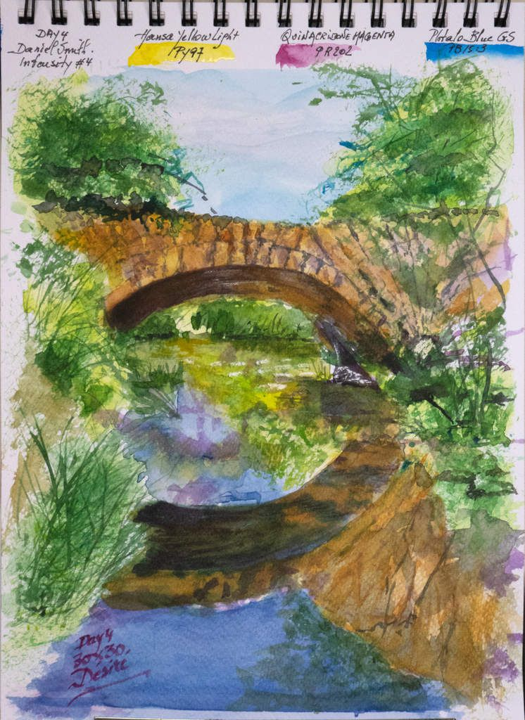 "Bridge on the Aigue-Brun made with the ""Intensity"" triad with paintings by Daniel Smith"