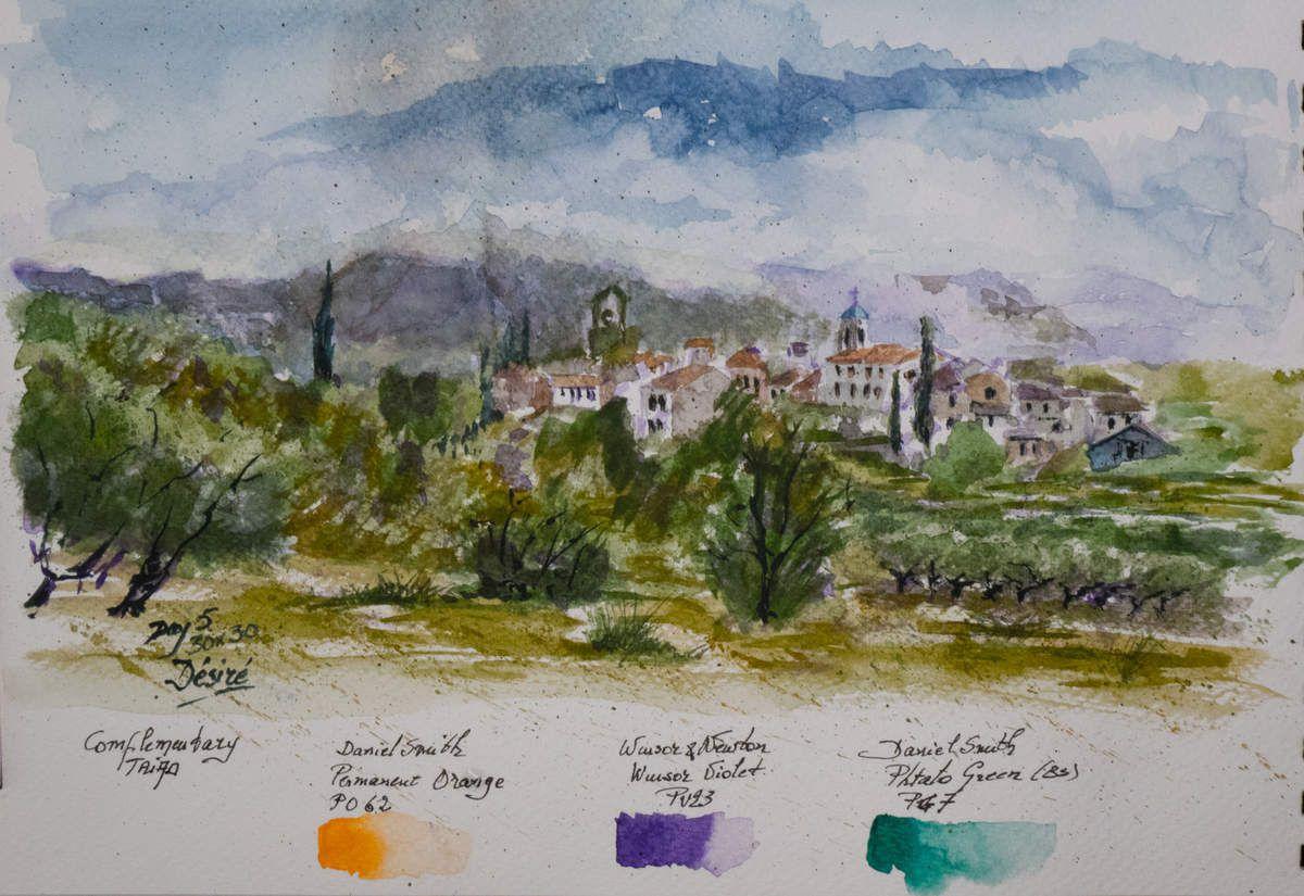 Le village de Lourmarin du Lubéron aquarelle réalisée avec la triade des secondaires