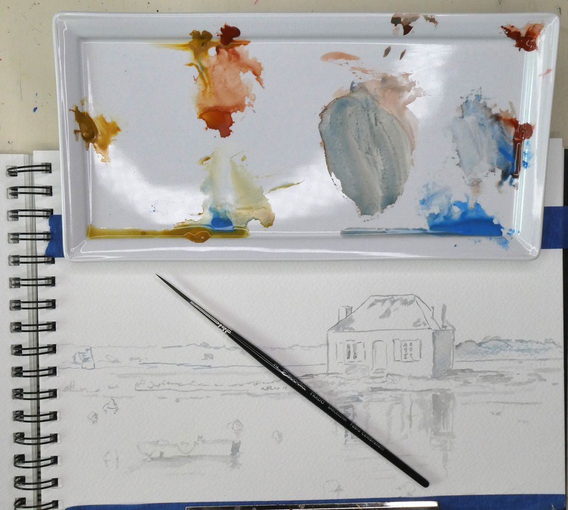 Watercolor sketch for this painting. As the greys are very light you want to see them when painting over.