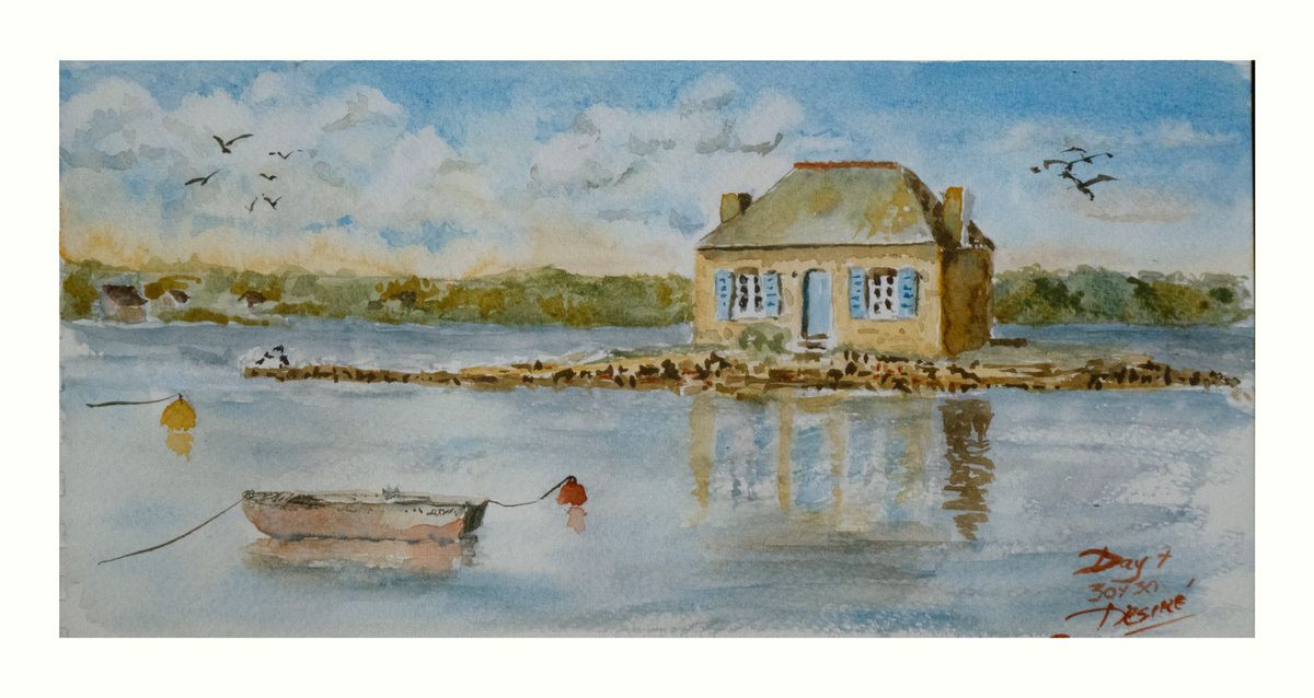 """Watercolor study by Désiré Herman using the Opaque Triad featuring """" The Little House """" of Saint Cado"""