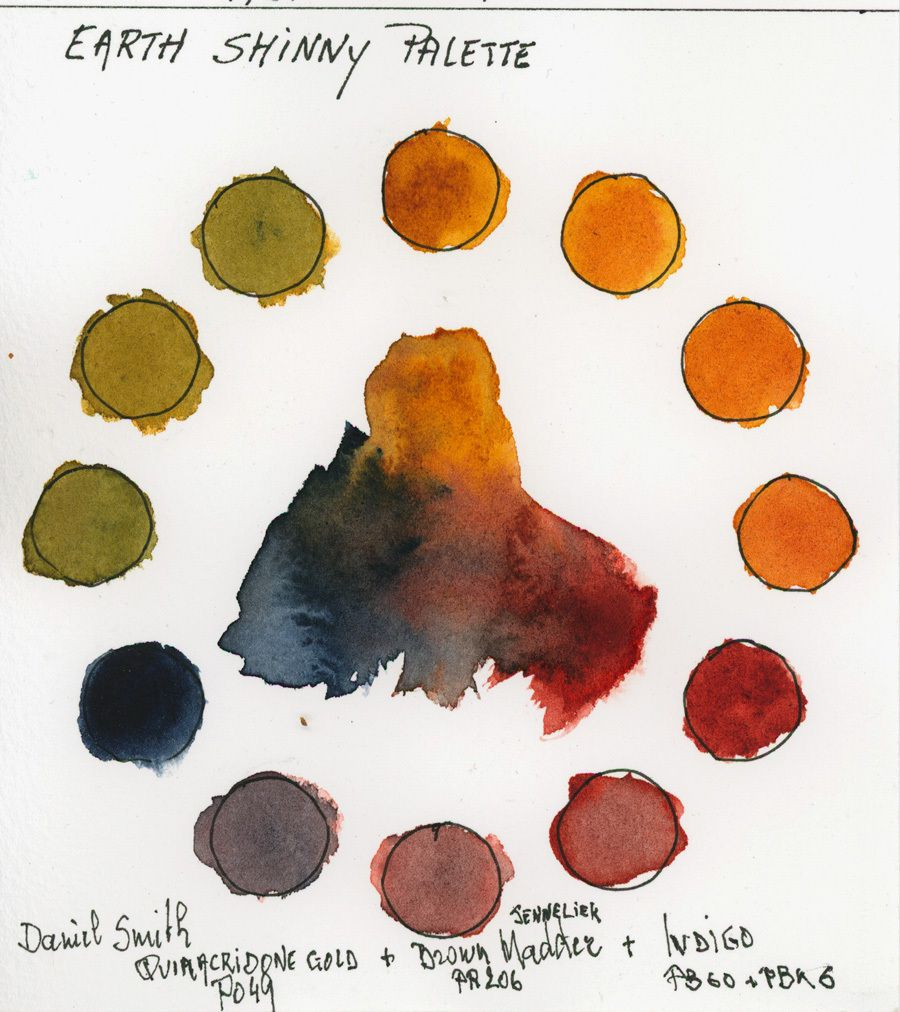 Triad of Vibrant Earth colors with colors of Daniel Smith and Sennelier