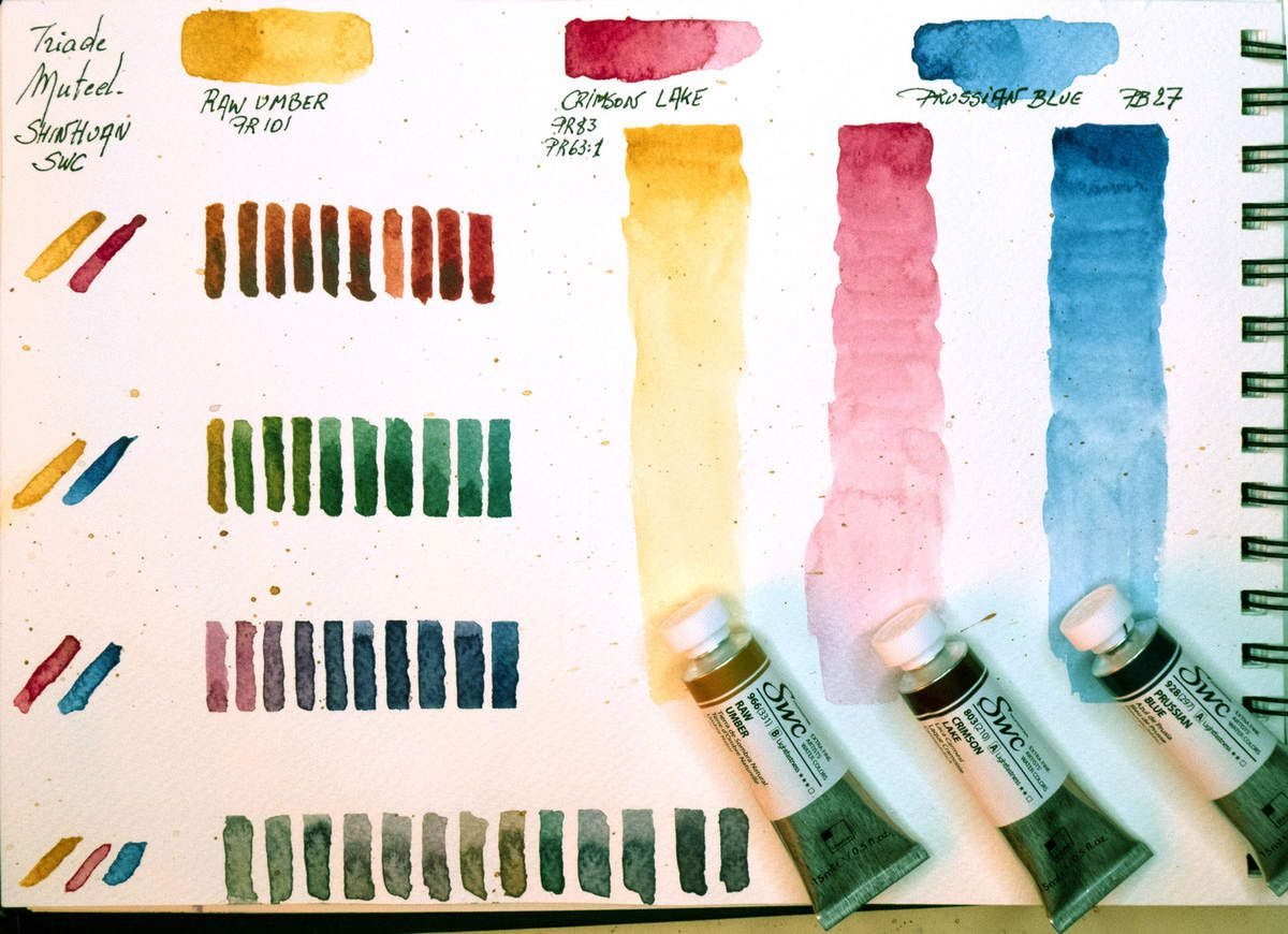 Swatches of mixtures with the muted triad Mixture color chart