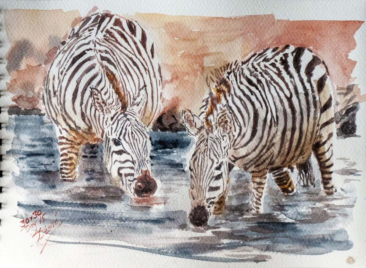 Watercolor painting finished created by Désiré HERMAN with Sennelier extra-fine watercolor paints