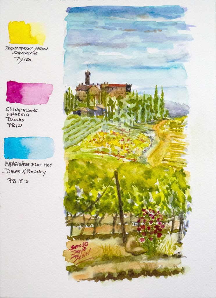 Watercolor of a Tuscan vineyard made with the High Key triad 3