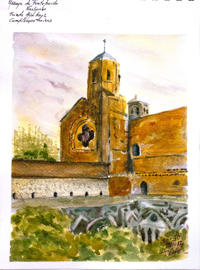 Watercolor of The Abbey of Fontefroide by Désiré Herman using the triad High Key 2