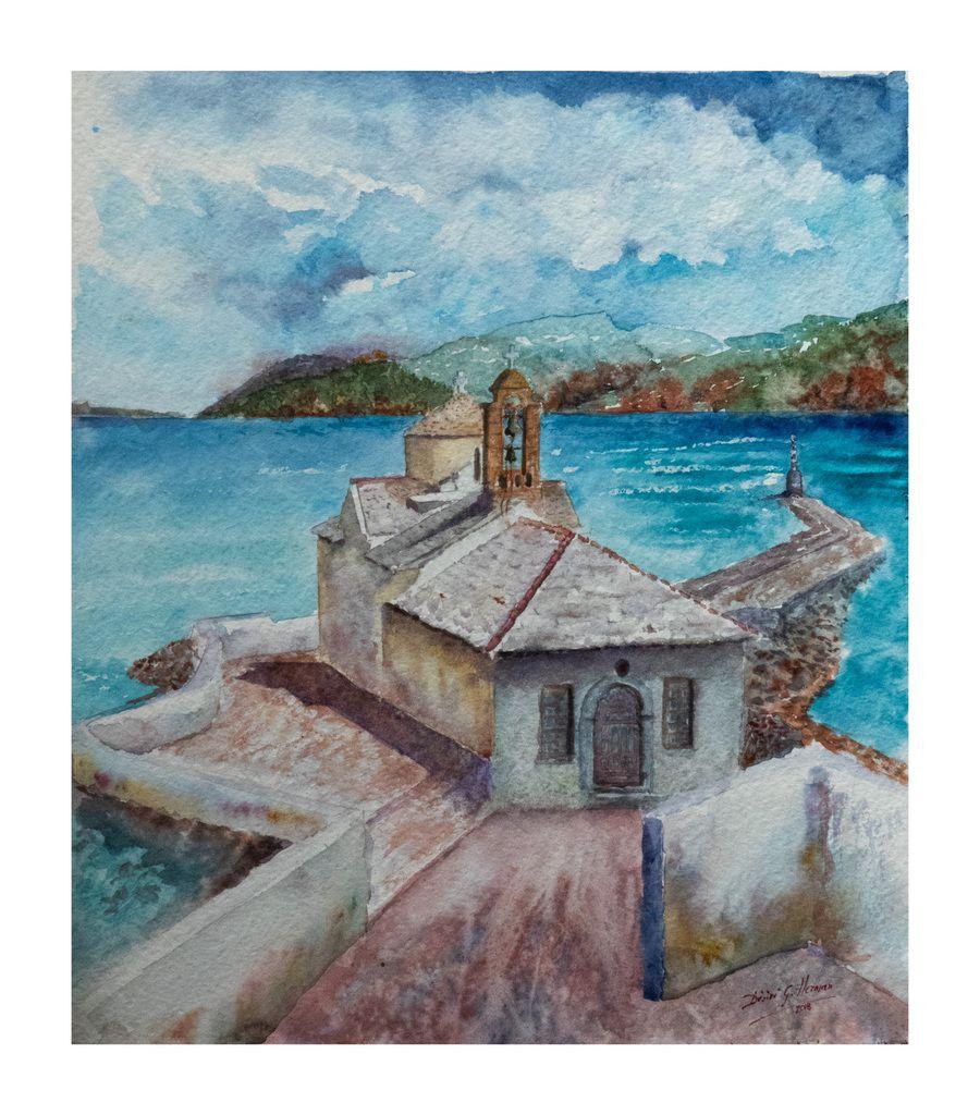 Église @ Skopelos Grèce aquarelle par Désiré G. Herman