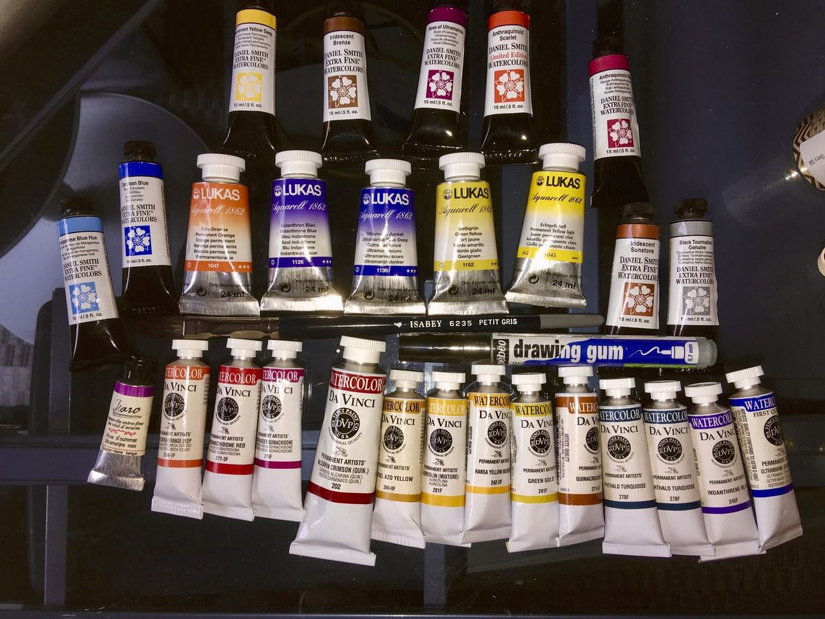 Watercolor paint from different brands