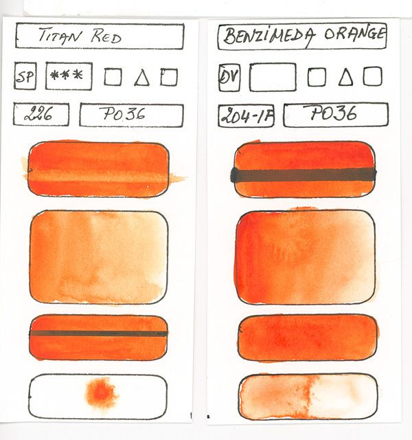 Orange Watercolor Paint Swatches Created With Pigment Po36