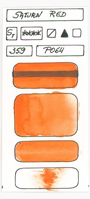 Orange Watercolor Paint swatches created with pigment PO64