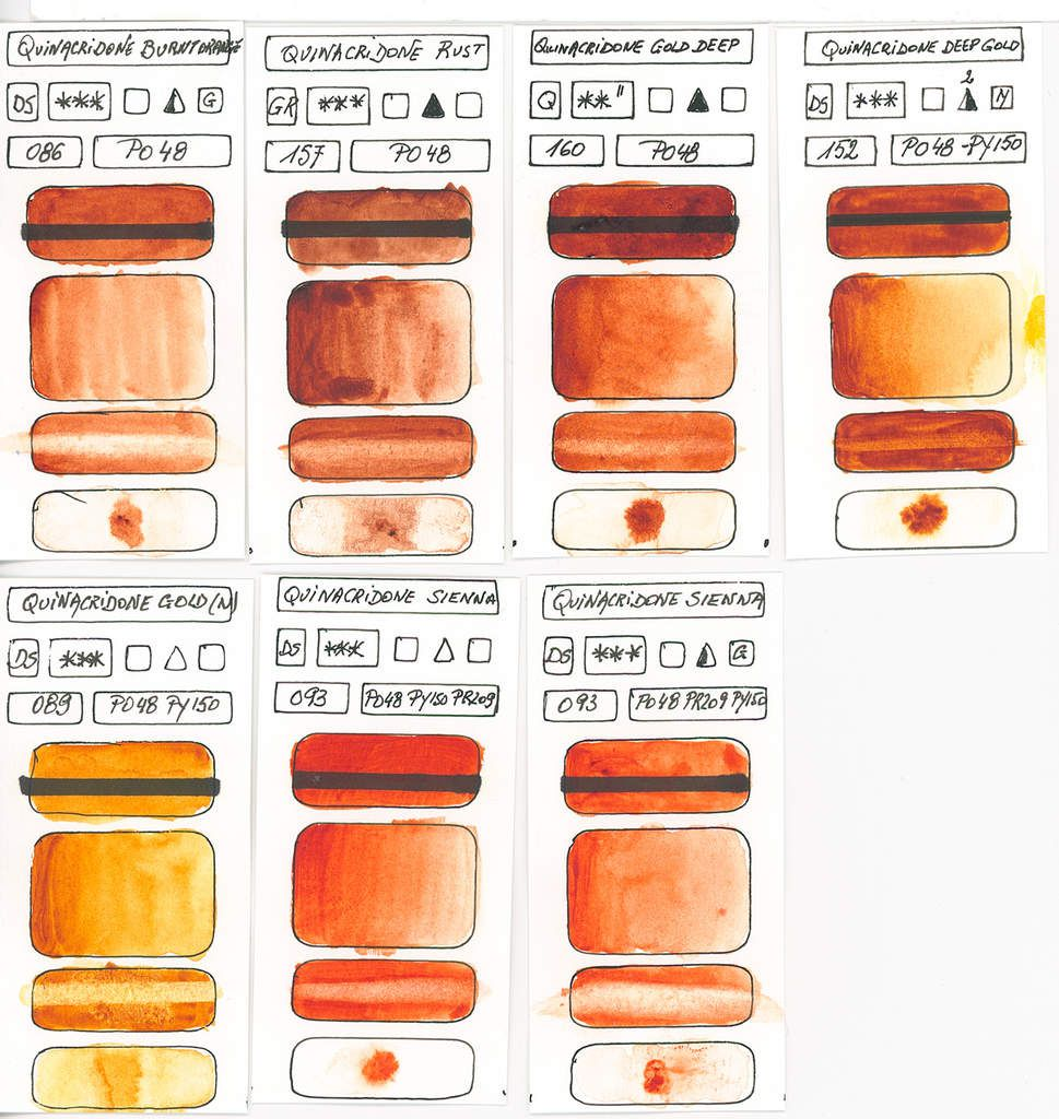 Orange Watercolor Paint swatches created with pigment PO48