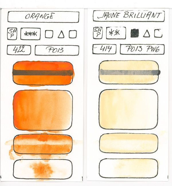 Orange Watercolor Paint swatches created with pigment PO13