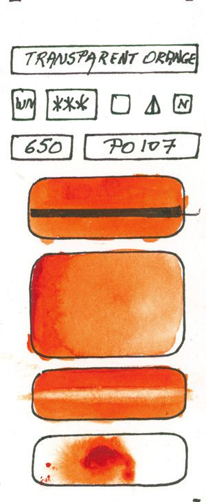 Orange Watercolor Paint swatches created with pigment P1O7