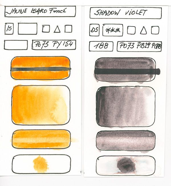 Orange Watercolor Paint swatches created with pigment PO73 and others