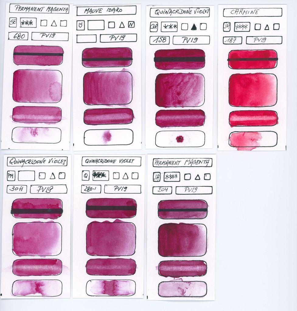 Violets Pigment PV19 différentes marques
