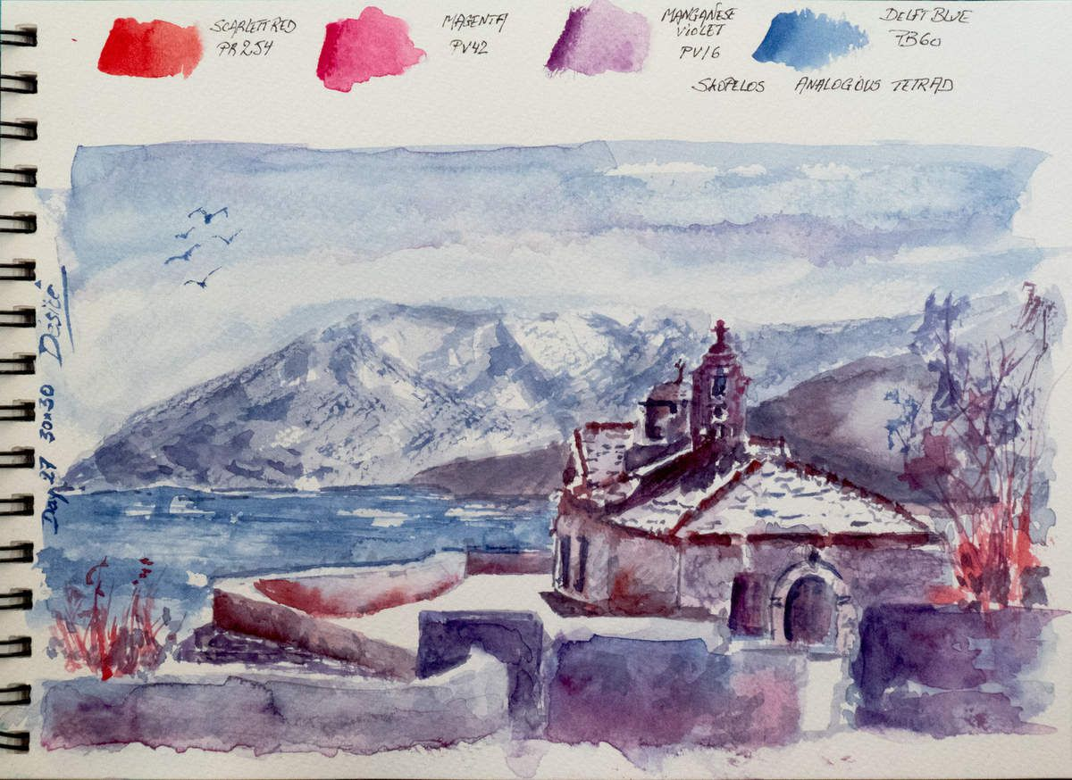 Watercolor painting with only 4 pigments and 2 violet ones by Désiré Herman