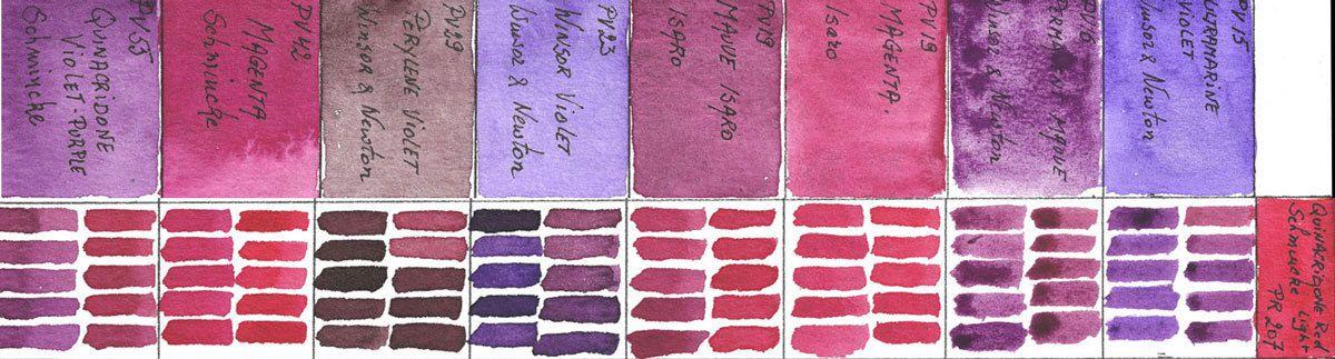 Les mélanges des Violets avec le PR207 Rouge Clair de Quinacridone
