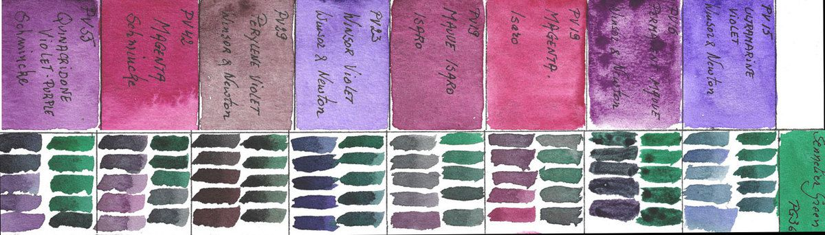 Mixes of Violet Watercolors with PG36 Sennelier Green