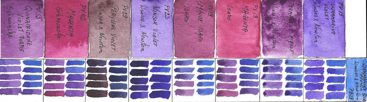 Mixing violets with PB29 Ultramarine Blue