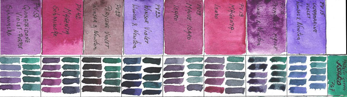 Mixes of Violet Watercolors with PG7 Pthtalo Green