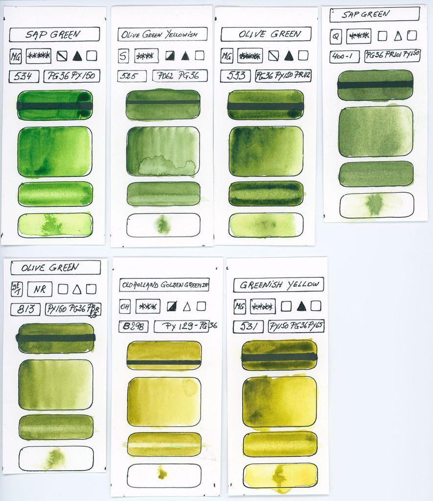 Echantillons des Aquarelles à base du pigment PG36 et autres pigments