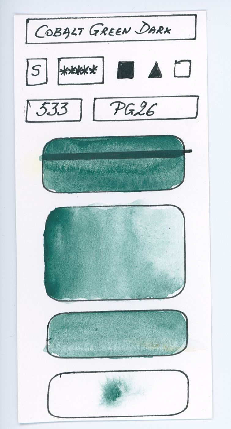 Swatches of Green watercolor paints from different manufacturer made with pigment P26