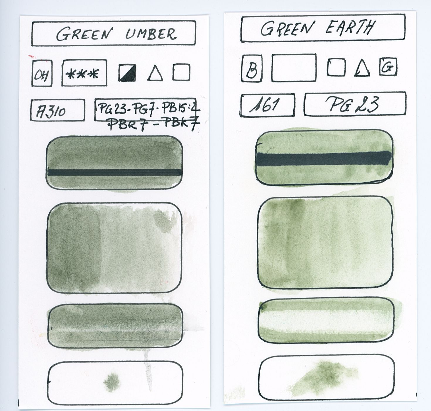 Swatches of Green watercolor paints from different manufacturer made with pigment P23