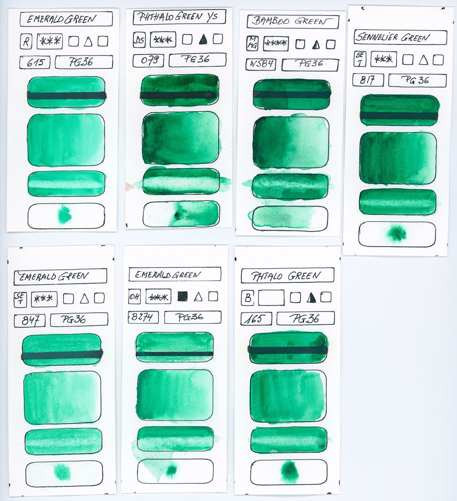 Swatches of Green watercolor paints from different manufacturer made with pigment P36